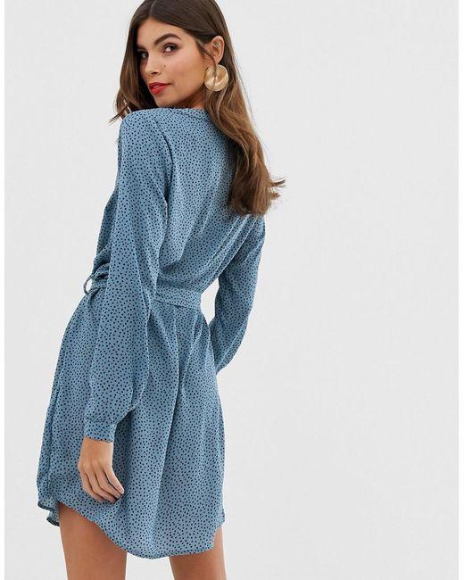 dd017036e63 ... Vila - Blue Spotty Collarless Shirt Dress - Lyst