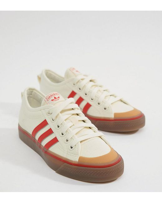 a59a24ec735 Adidas Originals - Black Nizza Canvas Sneakers In White And Red - Lyst ...