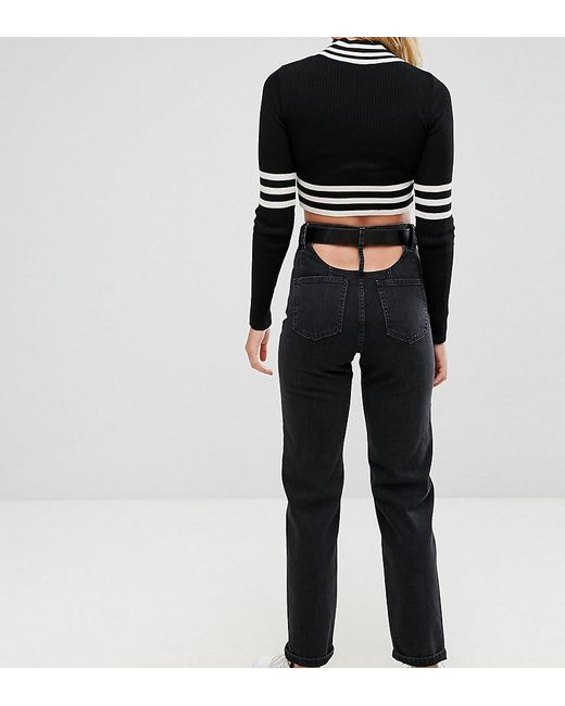 e88072b7f605 ASOS - High Waisted Straight Leg Jeans With Open Back In Ashes Washed Black  With Belt ...