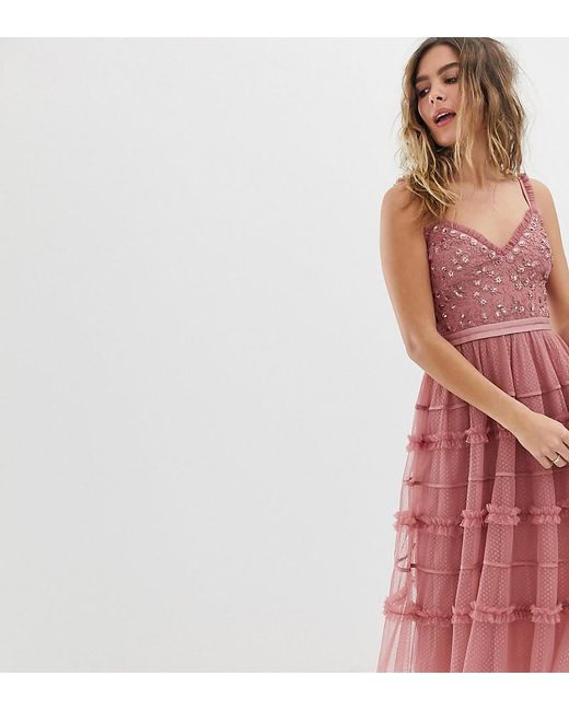 Needle & Thread - Pink Cami Strap Embroidered Midi Dress In Rouge - Lyst