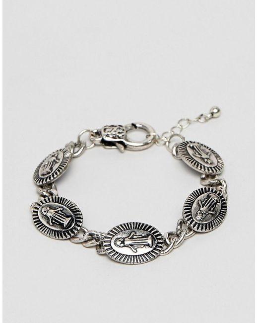 ASOS - Metallic Medallion Bracelet In Burnished Silver Tone for Men - Lyst