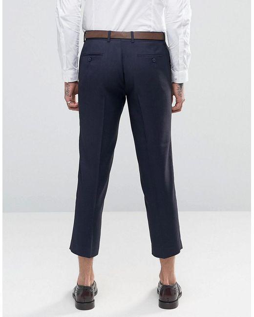 Pantalon De Flanelle Recadrées Maigres - Marine Farah nxgCd