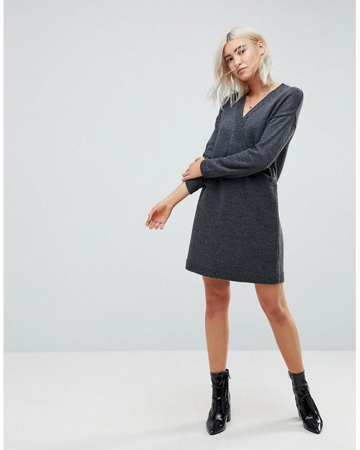 ASOS - Gray Chunky Knitted Dress With Wrap Detail - Lyst