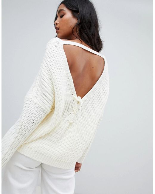 b3992e6035 Micha Lounge - White Oversized Jumper With Back Detail - Lyst ...