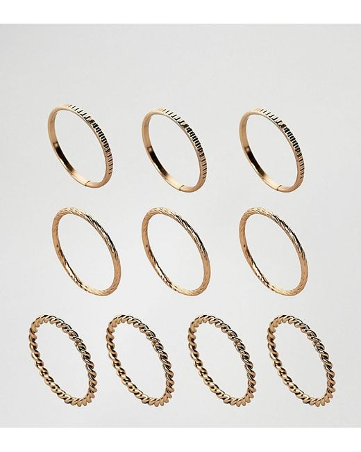 ASOS | Metallic Pack Of 10 Twist And Engraved Ring Pack | Lyst