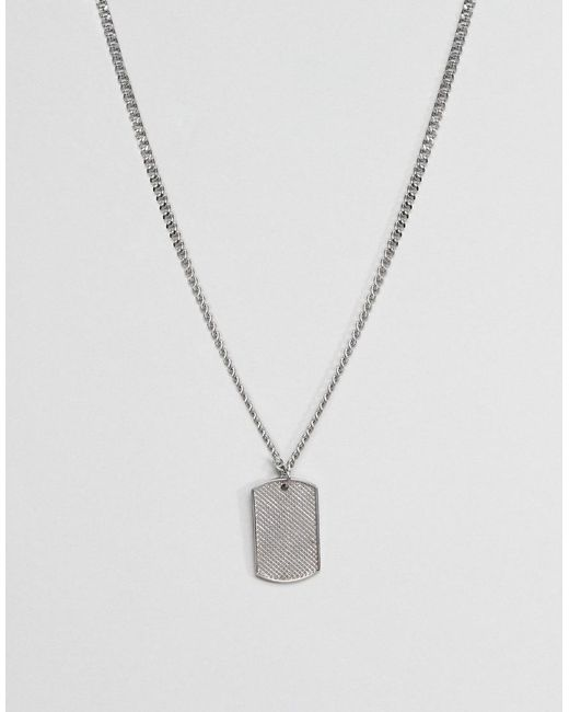 ASOS - Metallic Design Stainless Steel Neck Chain With Dog Tag for Men - Lyst