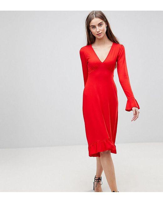 726e994860 ASOS - Red Midi Tea Dress With Frill Cuff - Lyst ...