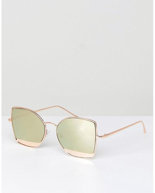 ASOS DESIGN - Metallic Asos Kitten Cat Eye Sunglasses With Mirror Insert - Lyst