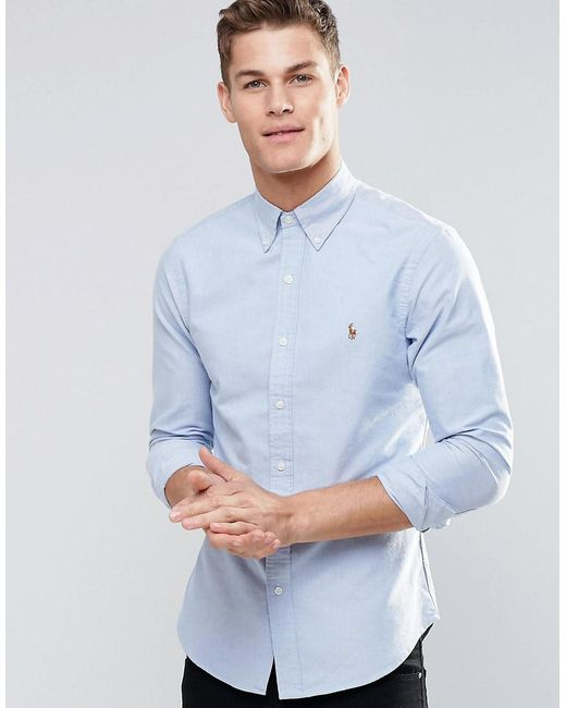 c9e5ab956af0 Polo Ralph Lauren Oxford Shirt In Slim Fit Blue in Blue for Men - Lyst