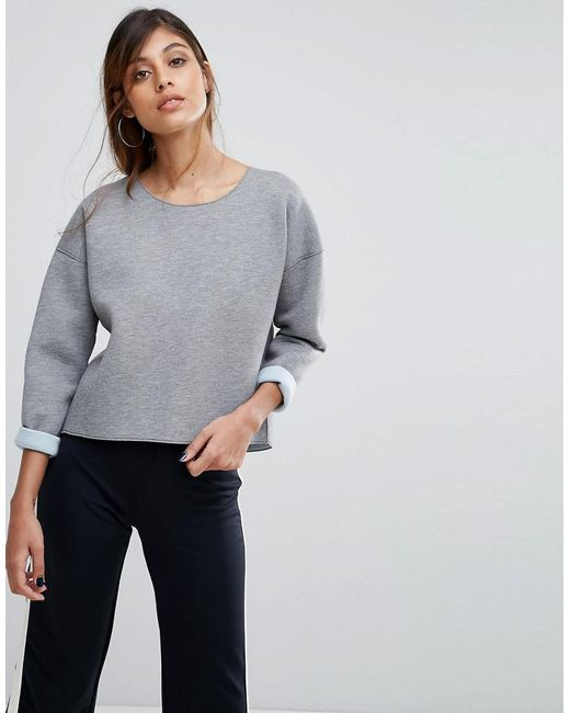 French Connection - Gray Zanzi Sweater With Pu Sleeves - Lyst