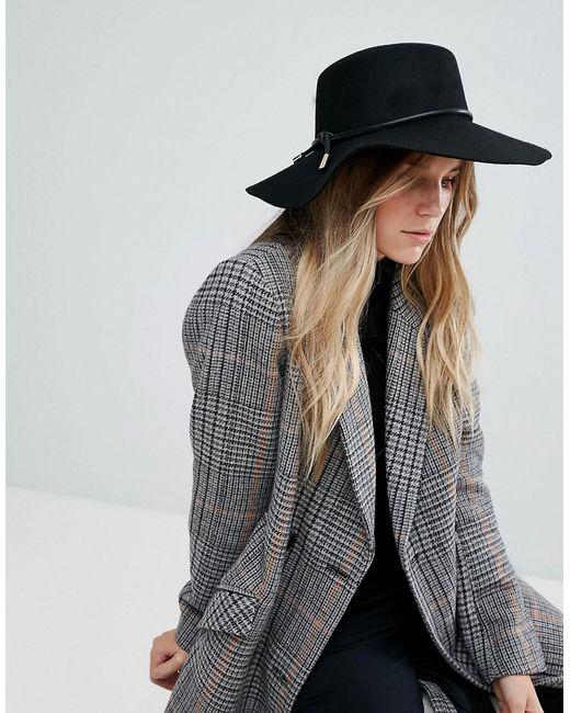 Ted Baker   Black Rope Trim Flat Brimmed Hat   Lyst