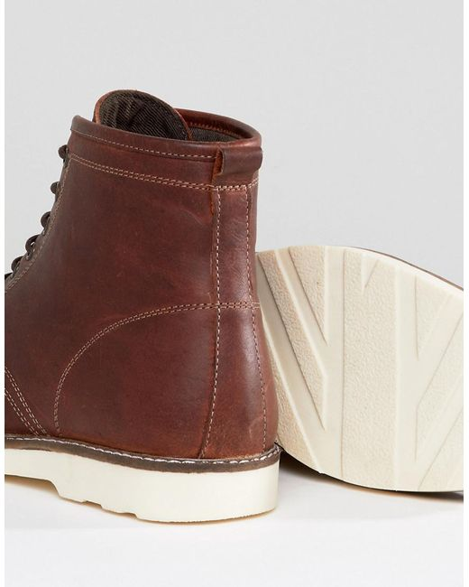 Wide Fit Lace Up Boots In Brown Leather With White Sole - Brown Asos ojnx0