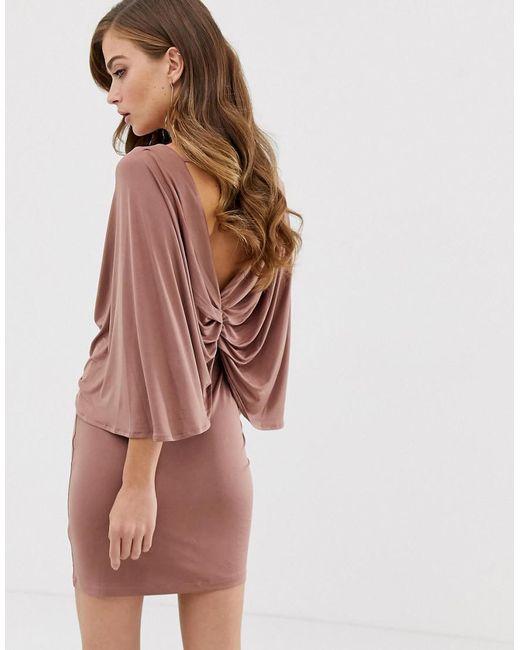 c2f3d84b20aa4 ... ASOS - Pink Kimono Sleeve Drape Knot Back Mini Dress - Lyst