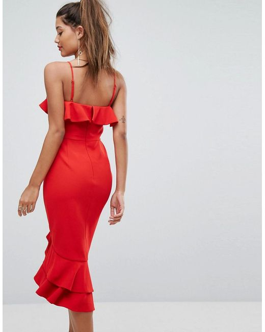 3ca88b7e163f ... Forever New - Red Midi Dress With Frill Detail - Lyst