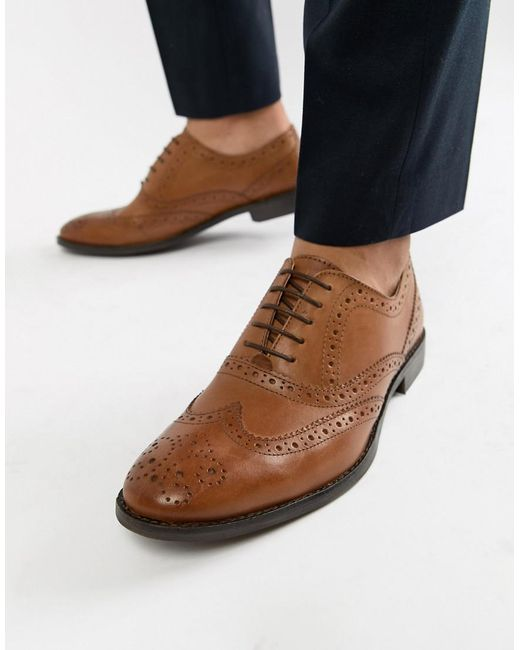 97ee4af91376 ASOS - Brown Oxford Brogue Shoes In Tan Leather - Wide Fit Available for  Men ...