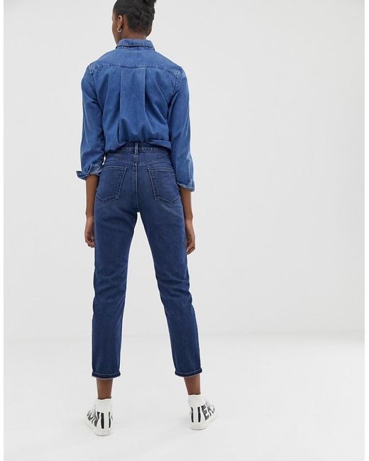 53ad3c408c ... ASOS - Recycled Farleigh High Waist Slim Mom Jeans In Dark Wash Blue  With Front Patch