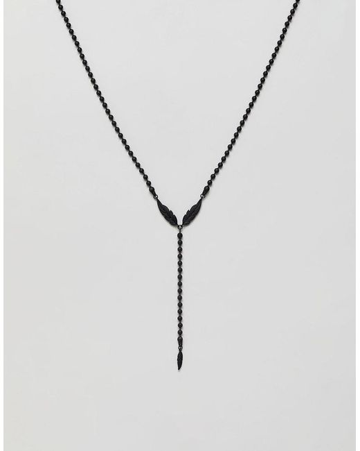 ASOS - Beaded Lariat Necklace With Feather In Black for Men - Lyst