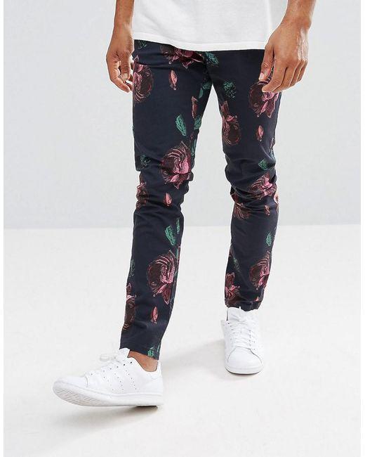 ASOS DESIGN - Blue Asos Skinny Pants In Oversized Rose Print for Men - Lyst