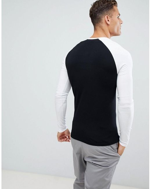 9d894c97 ... ASOS - Black Muscle Fit Long Sleeve Crew Neck T-shirt With Stretch With  Contrast