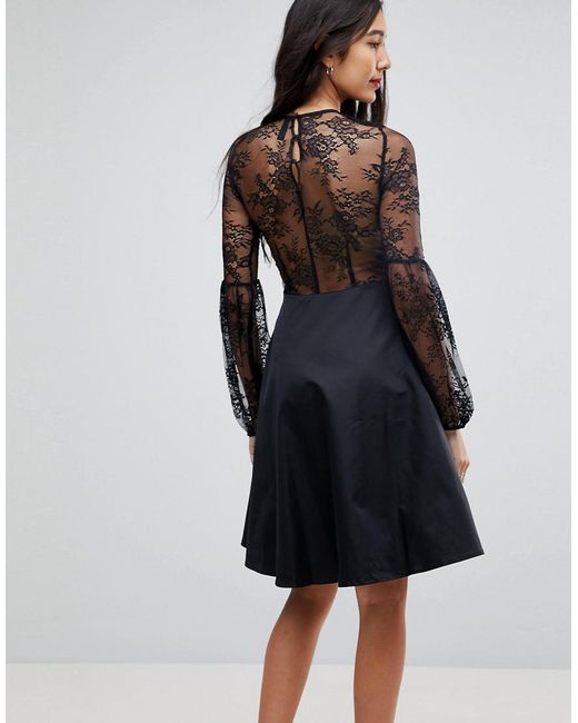 4c7d5b530162 ... Y.A.S - Black Lace Top Balloon Sleeve Dress - Lyst