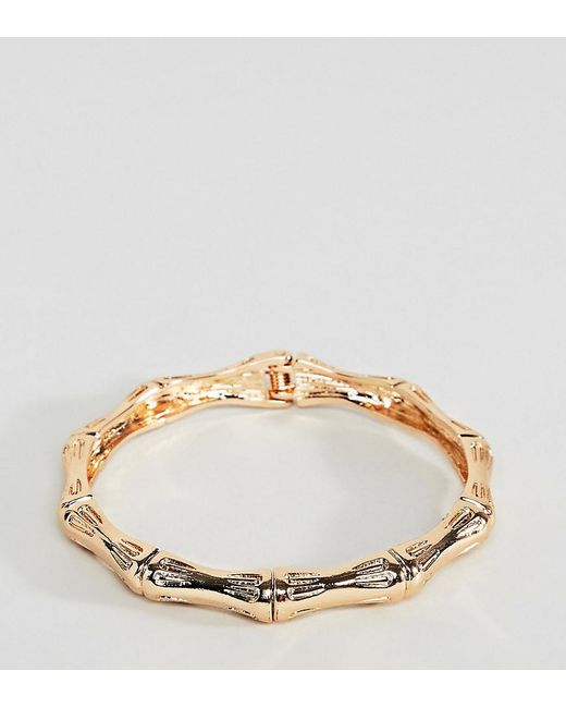 ASOS - Metallic Asos Design Curve Bangle Bracelet With Chunky Textured Vintage Detail In Gold - Lyst