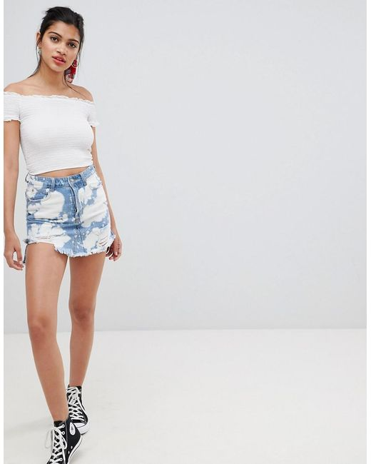 Glamorous - Blue Denim Skirt With Raw Hem - Lyst