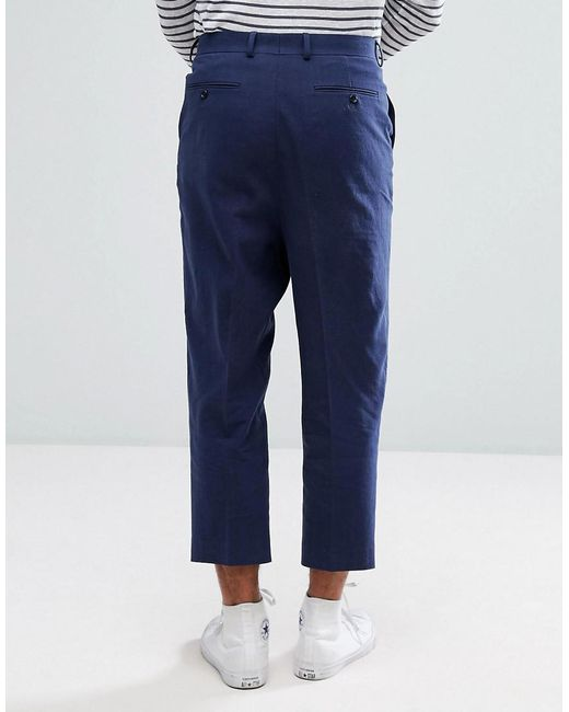 2018 Cool Discounts Sale Online TALL Drop Crotch Tapered Smart Trousers In Navy Textured Linen Blend - Navy Asos Really Cheap Shoes Online i7BLB41PJT