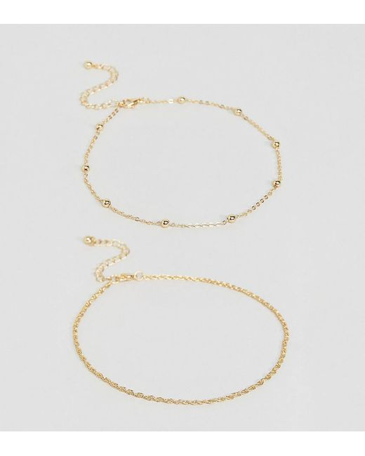 ASOS | Metallic Pack Of 2 Fine Rope And Ball Chain Anklets | Lyst