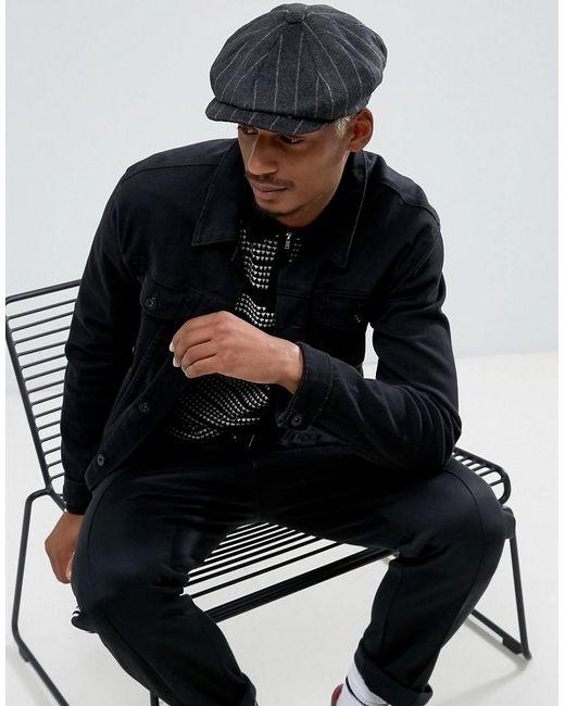 ASOS   Black Baker Boy Hat In Textured Stripe Melton for Men   Lyst