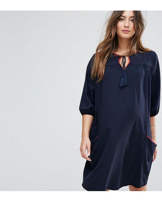 Gebe Maternity | Blue Nursing Woven Shift Dress With Tassel Detail | Lyst