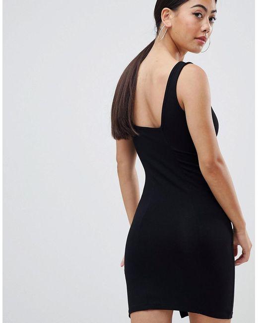 4a49e95bacdc0 ... ASOS - Black Asos Design Petite Square Neck Mini Bodycon Dress - Lyst