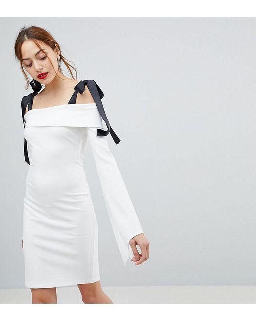 John Zack - White Bardot Mini Dress With Tie Shoulder Detail - Lyst
