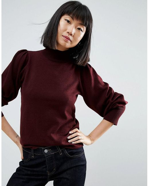 ASOS - Red Jumper With Full Sleeves And Roll Neck - Lyst
