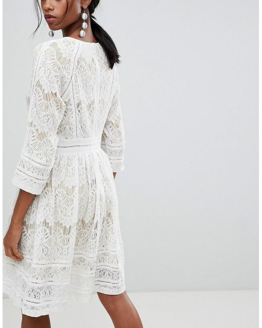 3e40fe2999a ... Liquorish - White Lace Skater Dress - Lyst