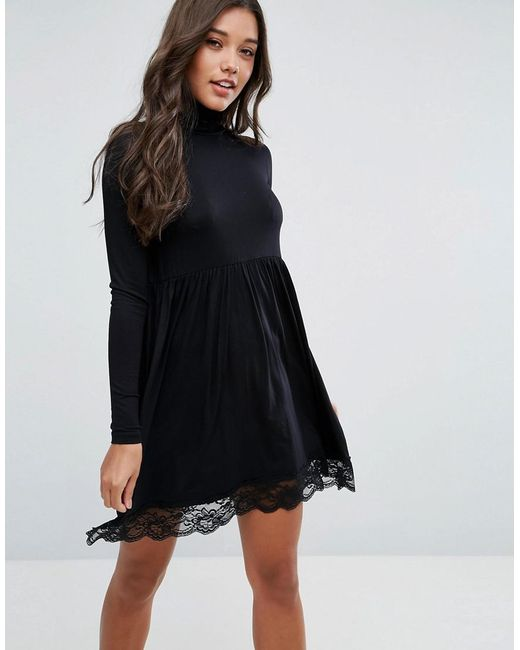 ASOS - Black Asos Polo Neck Skater Dress With Lace Hem - Lyst