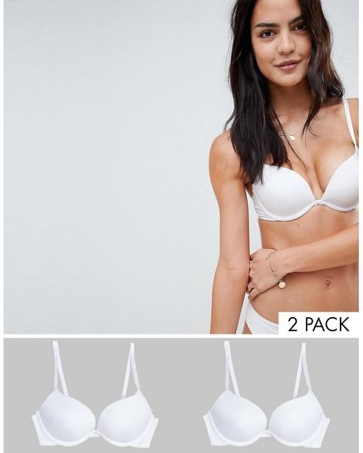 New Look - White 2 Pack Microfibre Push Up Bra - Lyst