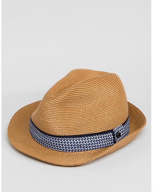 2402acbd059d90 ... Ted Baker - Natural Frise Summer Trilby Hat for Men - Lyst
