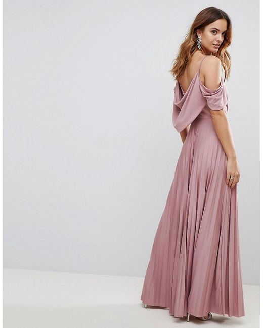4d41bf73472c ... ASOS - Pink Asos Cold Shoulder Cowl Back Pleated Maxi Dress - Lyst
