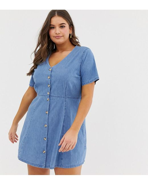 9d441e1f6b ASOS - Asos Design Curve Denim Tea Dress With Mock Horn Buttons In Midwash  Blue ...