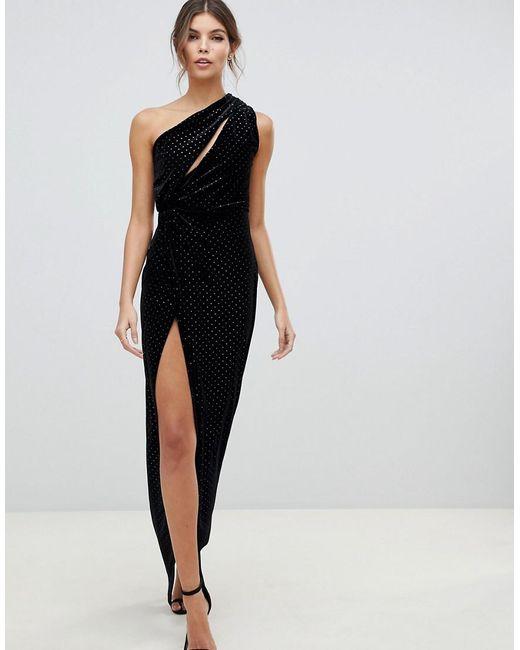 Lyst Asos One Shoulder Sparkle Velvet Maxi Dress In Black