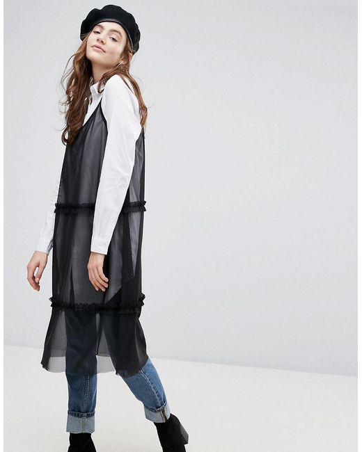 Mesh Cami Midi Dress With Ruffles - Black Pieces Jm57Qgf