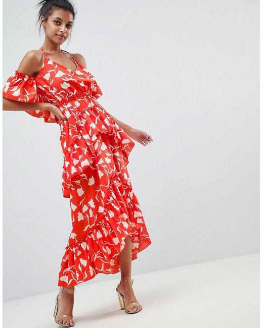 58f3178b0389 ASOS - Senorita Floral Print Tiered Frill Halter Maxi Beach Dress - Lyst ...
