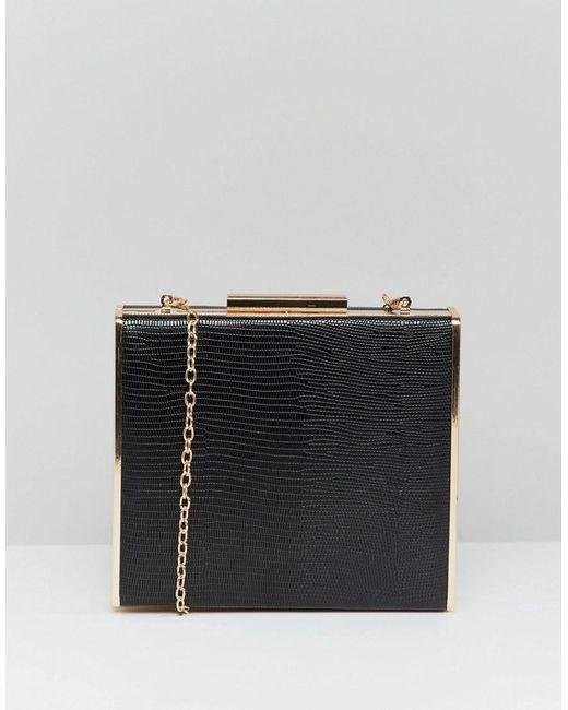 Claudia Canova - Black Box Clutch Bag With Metal Trim Detail And Detachable Chain. - Lyst