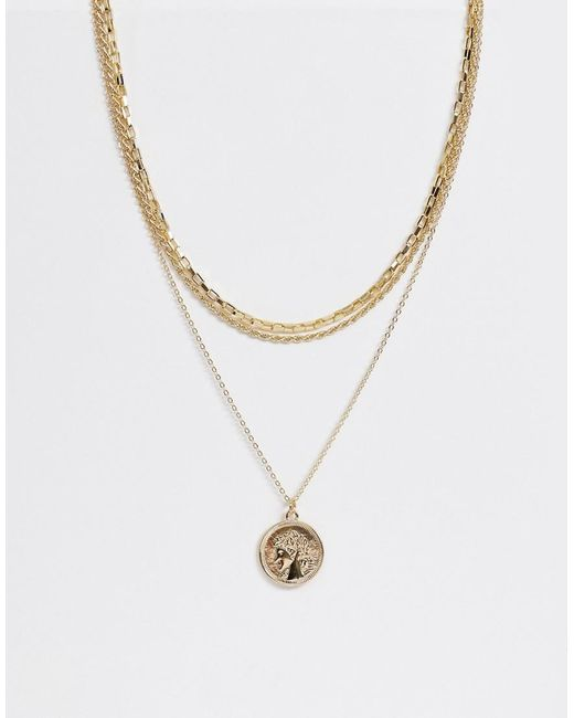 Pieces - Metallic Multi Row Coin Necklace - Lyst