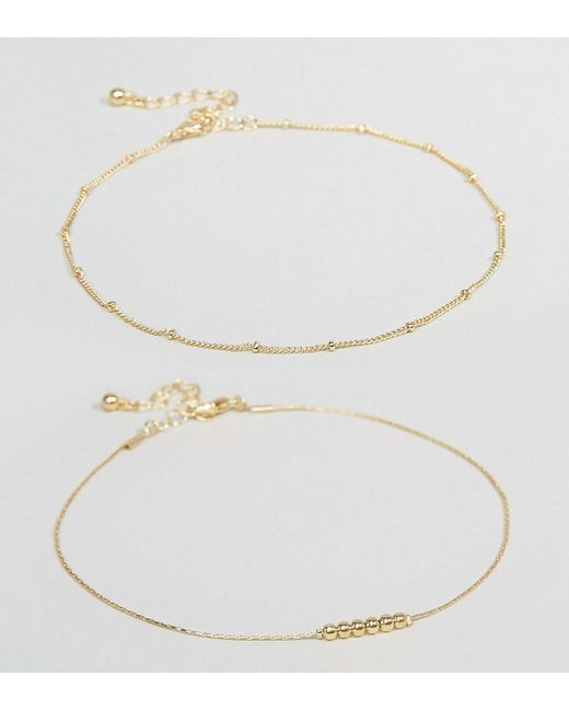 ASOS | Metallic Pack Of 2 Fine Ball Charm Anklets | Lyst