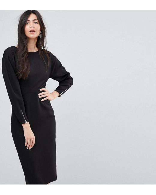 Asos Long Sleeve Midi Pencil Dress In Black Lyst