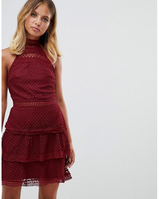 Girl In Mind - Red Lace Frill Mini Dress - Lyst