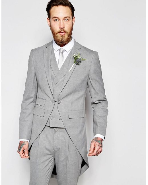 Lyst - Asos Wedding Skinny Morning Suit Jacket With Tails In Gray ...
