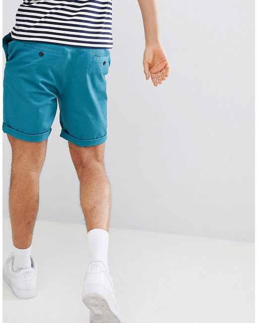 Newest Cheap Price Free Shipping Shop Offer DESIGN Slim Chino Shorts In Teal - New blue Asos Get Online B7VH4