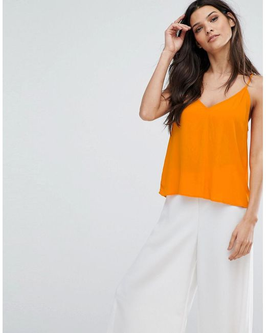 Mango | Orange V Front Cami Top | Lyst